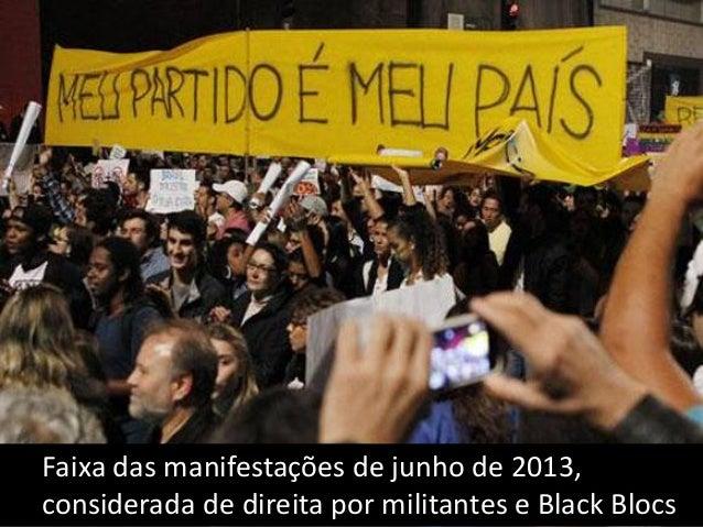 Faixa das manifestações de junho de 2013, tida por despolitizada pelos Black Blocs...