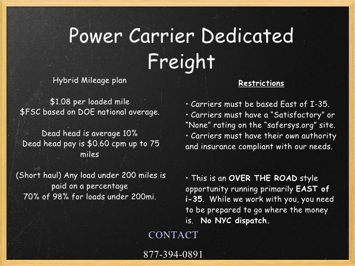 Power Only Dedicated Freight