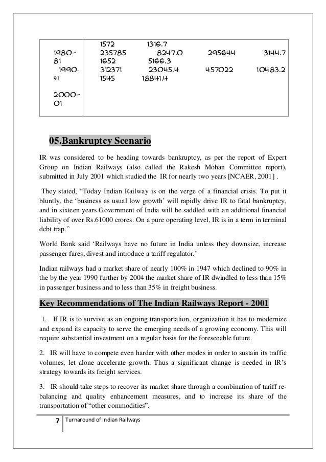 "turnaround strategy of railway Indian railways at crossroads –case study on ir, icmr, icfai indian railways, wikipedia ""turnaround of indian railways: a critical appraisal of strategies."