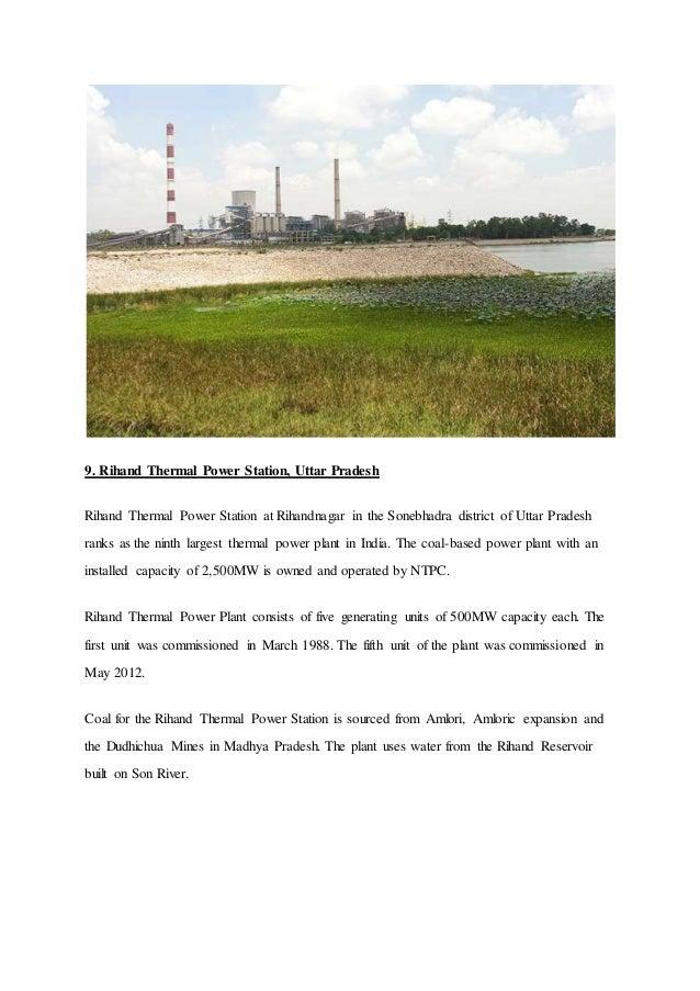 9. Rihand Thermal Power Station, Uttar Pradesh Rihand Thermal Power Station at Rihandnagar in the Sonebhadra district of U...