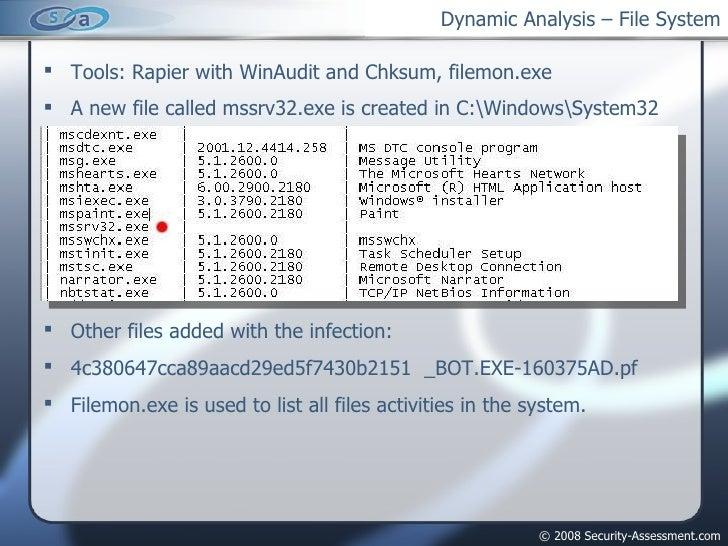 Dynamic Analysis – File System <ul><li>Tools: Rapier with WinAudit and Chksum, filemon.exe </li></ul><ul><li>A new file ca...