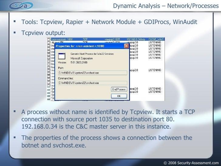 Dynamic Analysis – Network/Processes <ul><li>Tools: Tcpview, Rapier + Network Module + GDIProcs, WinAudit </li></ul><ul><l...