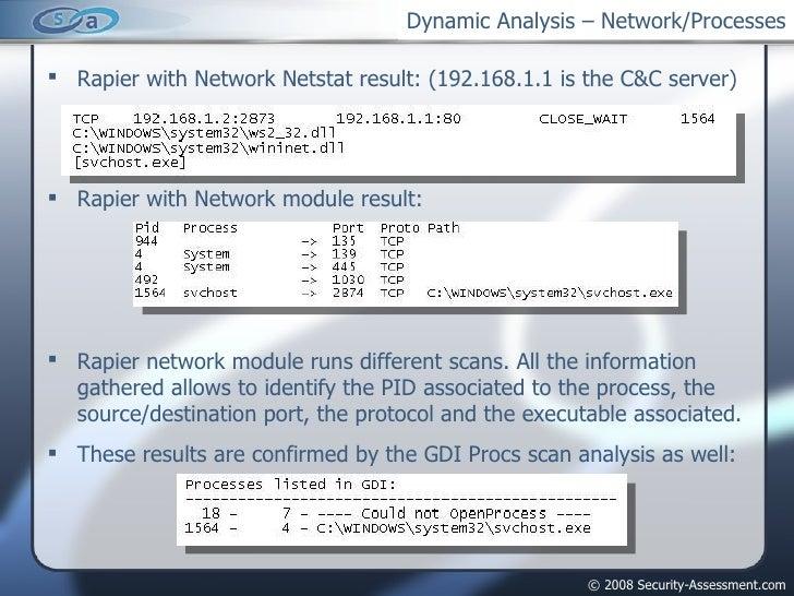 Dynamic Analysis – Network/Processes <ul><li>Rapier with Network Netstat result: (192.168.1.1 is the C&C server) </li></ul...
