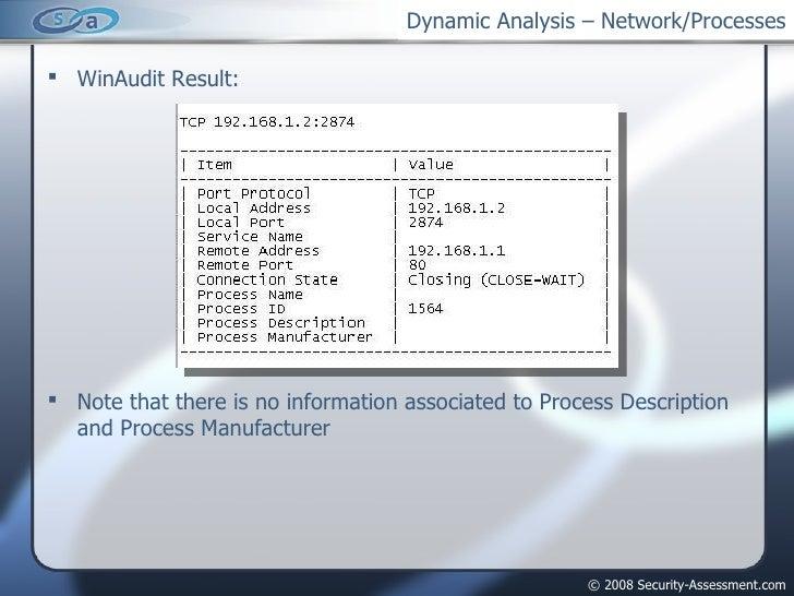 Dynamic Analysis – Network/Processes <ul><li>WinAudit Result: </li></ul><ul><li>Note that there is no information associat...