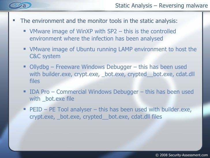 Static Analysis – Reversing malware <ul><li>The environment and the monitor tools in the static analysis: </li></ul><ul><u...