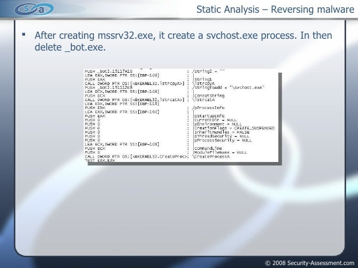 Static Analysis – Reversing malware <ul><li>After creating mssrv32.exe, it create a svchost.exe process. In then delete _b...