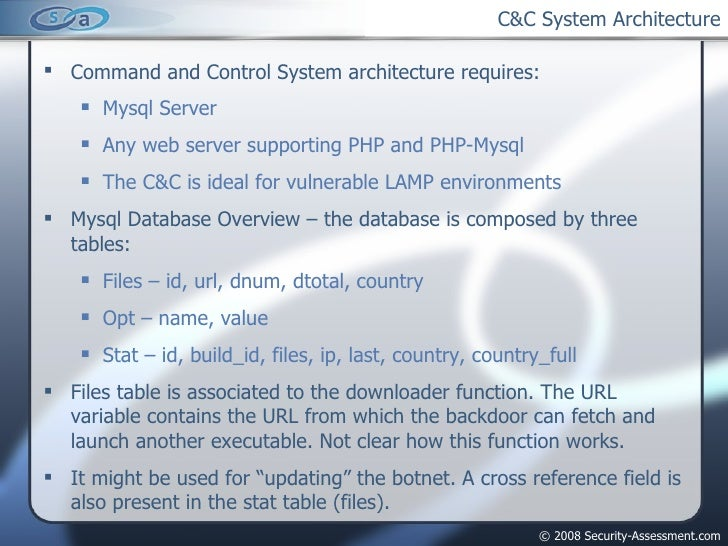 C&C System Architecture <ul><li>Command and Control System architecture requires: </li></ul><ul><ul><li>Mysql Server </li>...
