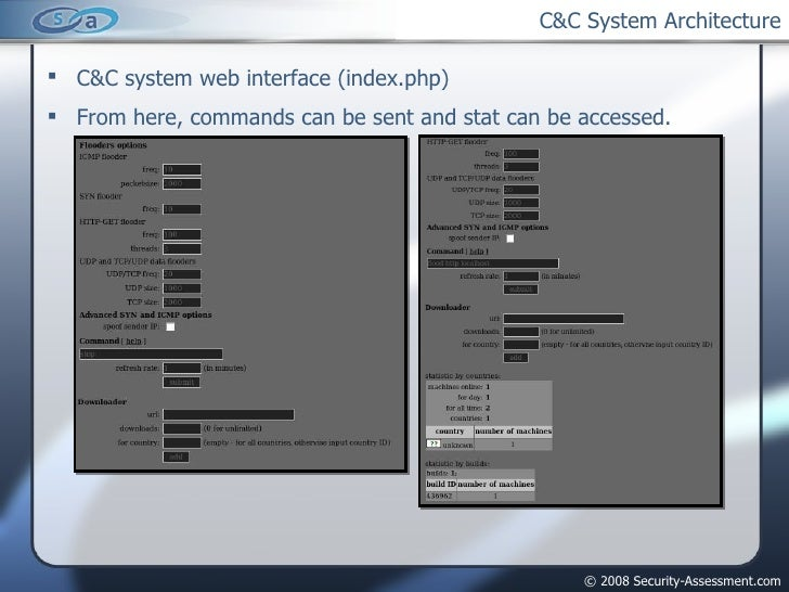 C&C System Architecture <ul><li>C&C system web interface (index.php) </li></ul><ul><li>From here, commands can be sent and...