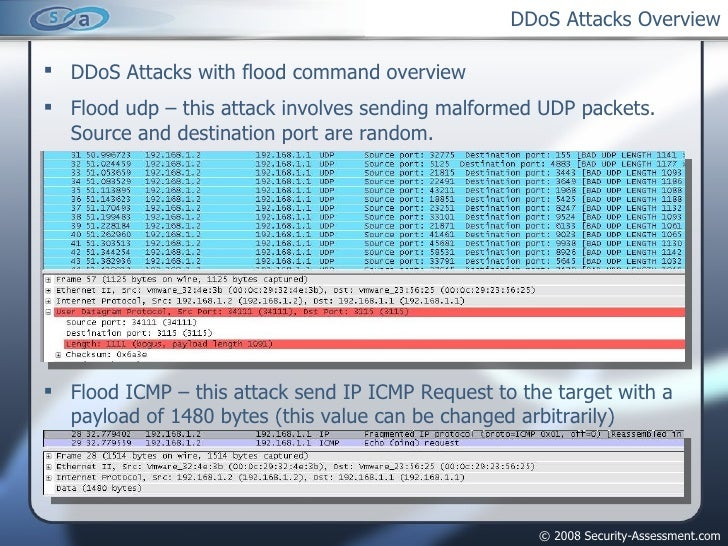 DDoS Attacks Overview <ul><li>DDoS Attacks with flood command overview </li></ul><ul><li>Flood udp – this attack involves ...