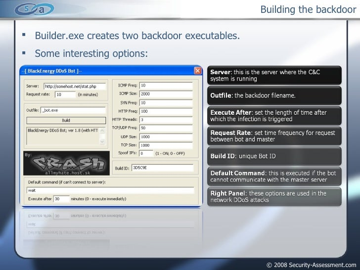 Building the backdoor <ul><li>Builder.exe creates two backdoor executables. </li></ul><ul><li>Some interesting options: </...