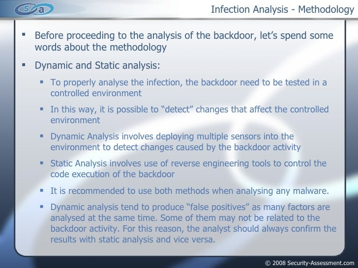 Infection Analysis - Methodology <ul><li>Before proceeding to the analysis of the backdoor, let's spend some words about t...