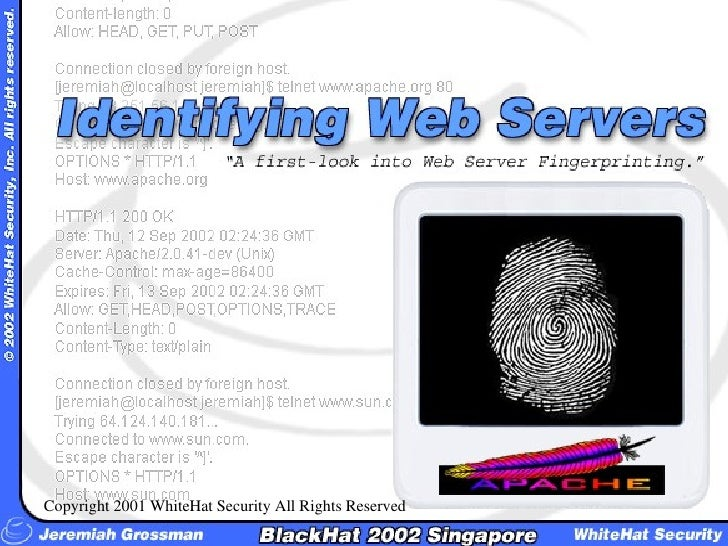 Copyright 2001 WhiteHat Security All Rights Reserved