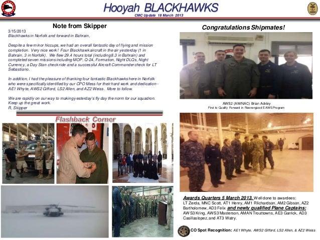 Hooyah BLACKHAWKS CMC Update 18 March 2013                         Note from Skipper                                      ...