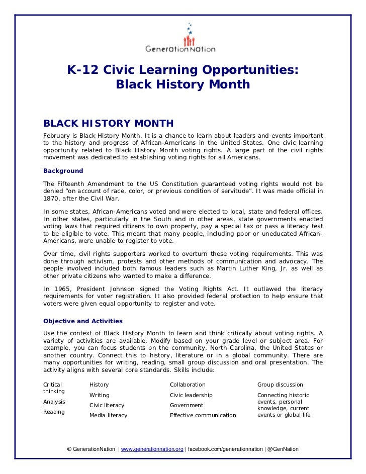 K-12 Civic Learning Opportunities:                  Black History MonthBLACK HISTORY MONTHFebruary is Black History Month....