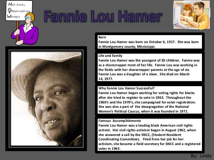a history of fannie lou hamer in montgomery county mississippi Fannie lou hamer was an unstoppable force for civil rights,  fannie lou (townsend) hamer was born on october 6th 1917 in montgomery county, mississippi.