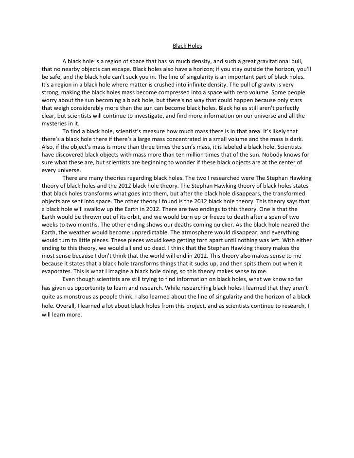 informative essay on black holes