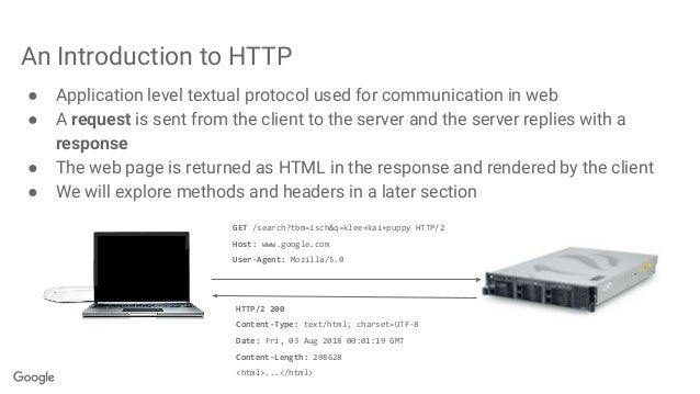 An Introduction to HTTP ● Application level textual protocol used for communication in web ● A request is sent from the cl...