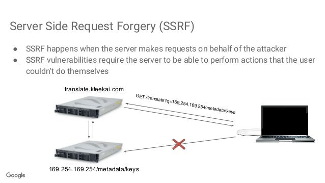 Server Side Request Forgery (SSRF) ● SSRF happens when the server makes requests on behalf of the attacker ● SSRF vulnerab...