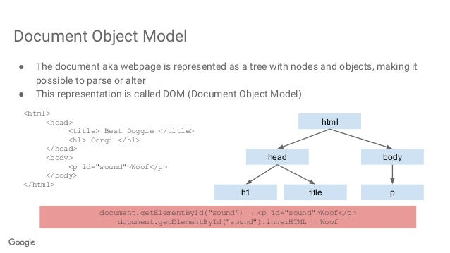 Document Object Model ● The document aka webpage is represented as a tree with nodes and objects, making it possible to pa...