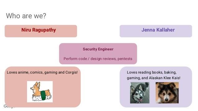 Who are we? Niru Ragupathy Jenna Kallaher Loves anime, comics, gaming and Corgis! Loves reading books, baking, gaming, and...