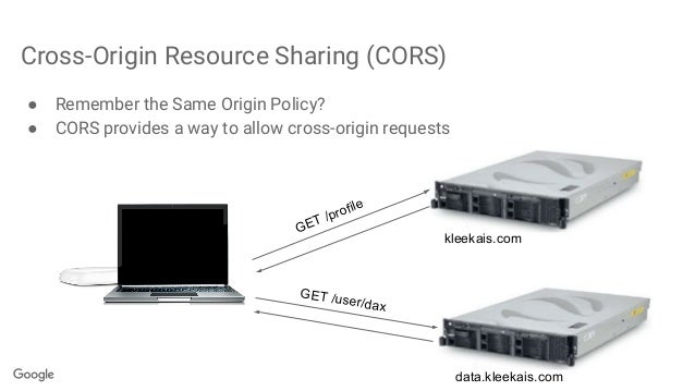 Cross-Origin Resource Sharing (CORS) ● Remember the Same Origin Policy? ● CORS provides a way to allow cross-origin reques...
