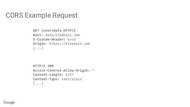 CORS Example Request GET /user/data HTTP/2 Host: data.kleekais.com X-Custom-Header: test Origin: https://kleekais.com [......