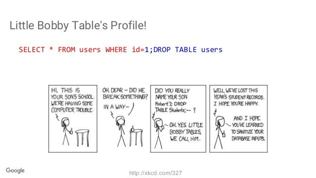Little Bobby Table's Profile! SELECT * FROM users WHERE id=1;DROP TABLE users http://xkcd.com/327