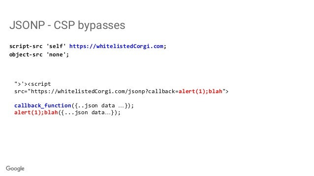 "JSONP - CSP bypasses script-src 'self' https://whitelistedCorgi.com; object-src 'none'; "">'><script src=""https://whitelist..."