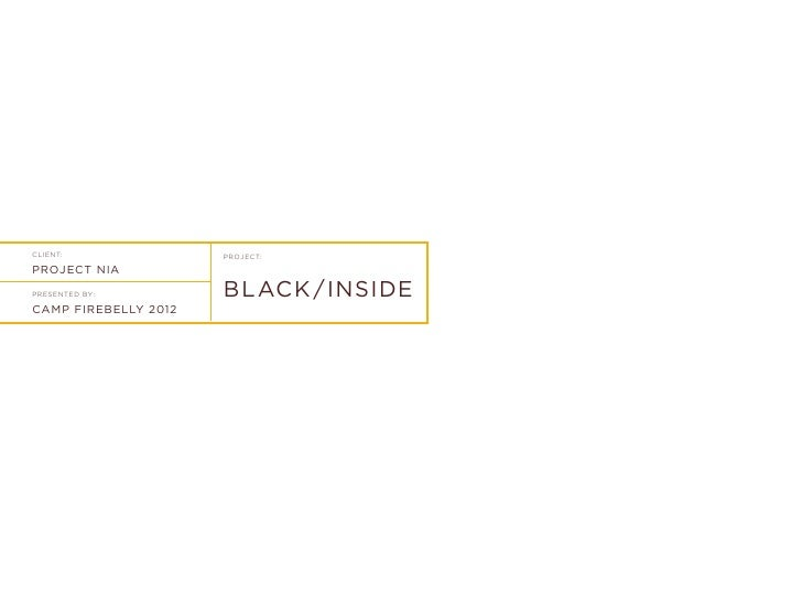 CLIENT:               PROJECT:PROJECT NIAPRESENTED BY:         BLACK / INSIDECAMP FIREBELLY 2012