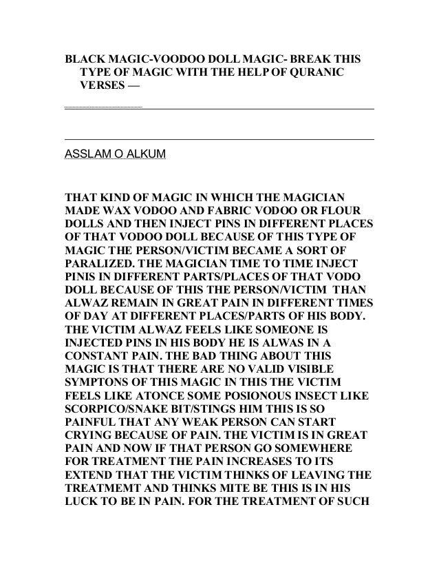 BLACK MAGIC-VOODOO DOLL MAGIC- BREAK THIS TYPE OF MAGIC WITH THE HELP OF QURANIC VERSES — ASSLAM O ALKUM THAT KIND OF MAGI...