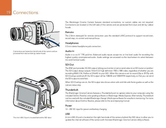 Blackmagic Design Cinema Camera user manual