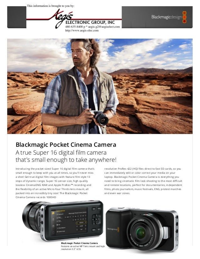 Blackmagic Pocket Cinema Camera  Design  Technology  Uses  Accessories  Tech Specs  Blackmagic Pocket Cinema Camera A true...