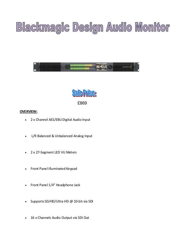 £869 OVERVIEW:   2 x Channel AES/EBU Digital Audio Input    L/R Balanced & Unbalanced Analog Input    2 x 27-Segment LE...