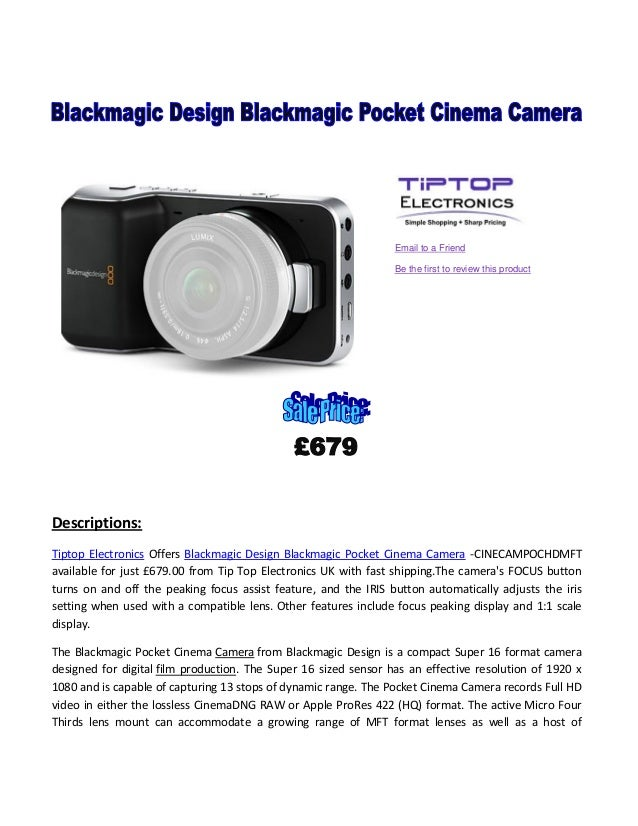 Email to a Friend Be the first to review this product  Descriptions: Tiptop Electronics Offers Blackmagic Design Blackmagi...