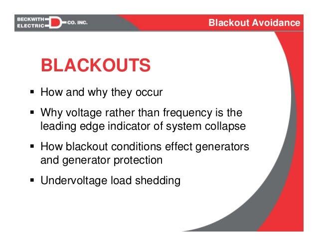 Blackout Avoidance Amp Undervoltage Load Shedding