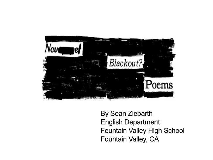 By Sean Ziebarth English Department Mountain Valley High School Mountain Valley, CA