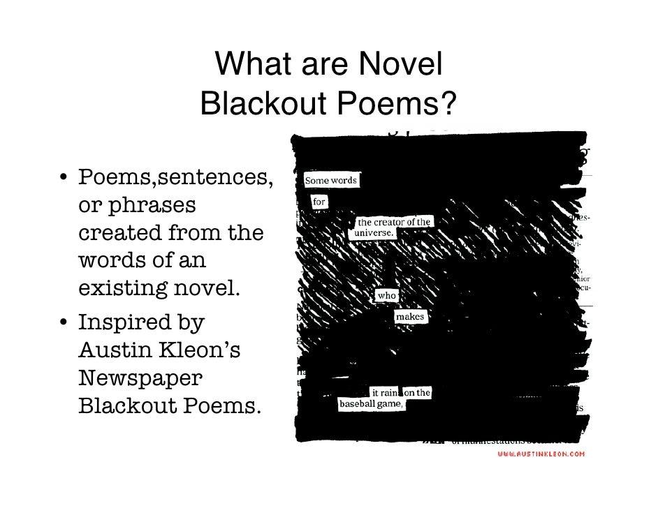 Novel Blackout Poems – Poetry Worksheets High School