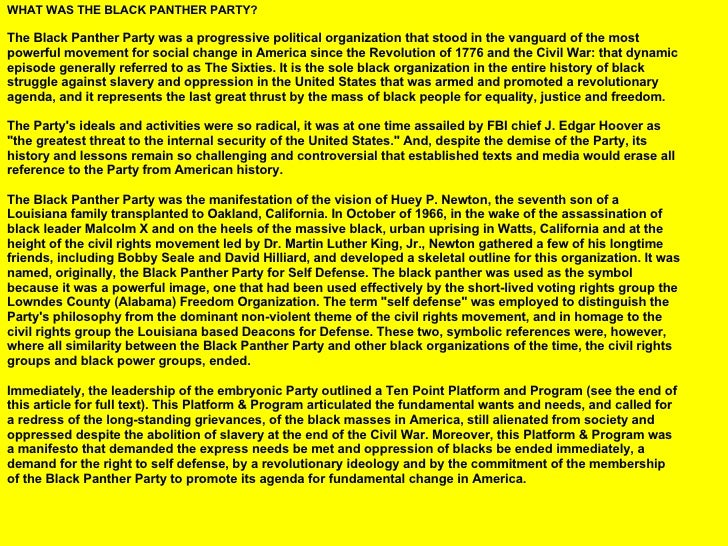 the history of black panther party and its original vision Black panther party's legacy of black power founder of the black panther party, talks about the history of the organization and its connection to.