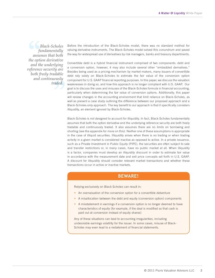 black scholes model thesis Stochastic volatility models on option pricing have received  this thesis examines the performance of the heston model versus the black-scholes model for the.