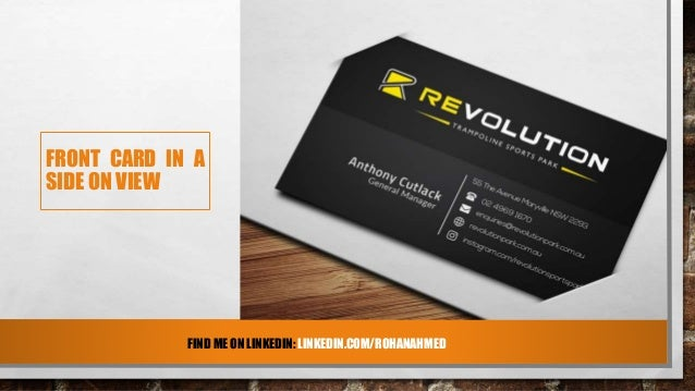 Black sleek business card design for revolution back card in a side on view colourmoves