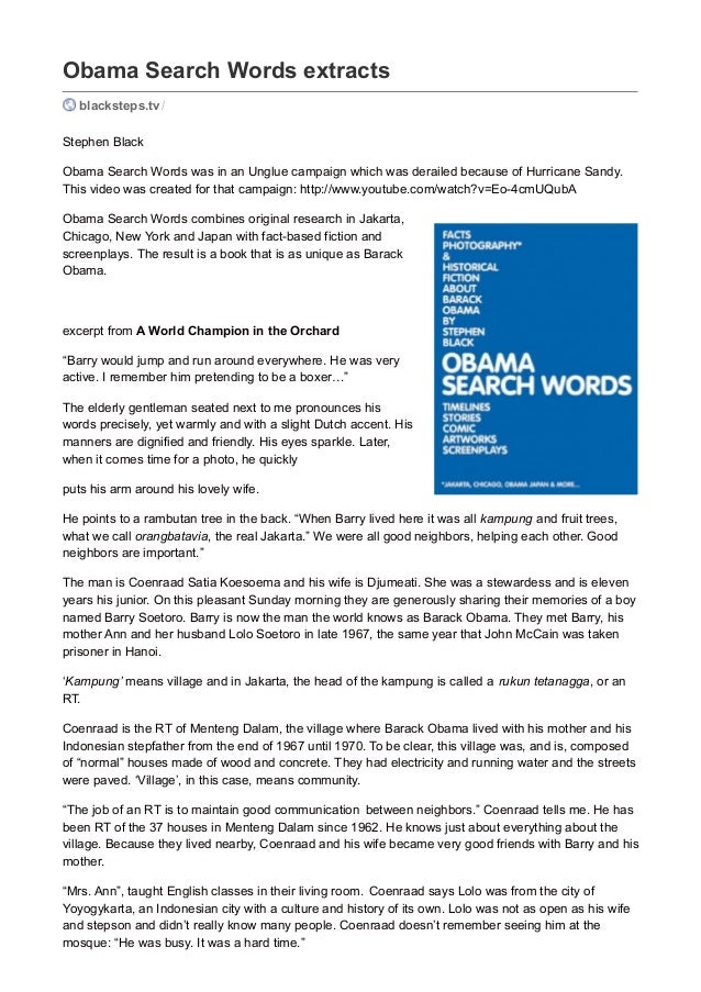 Obama Search Words extracts blacksteps.tv / Stephen Black Obama Search Words was in an Unglue campaign which was derailed ...