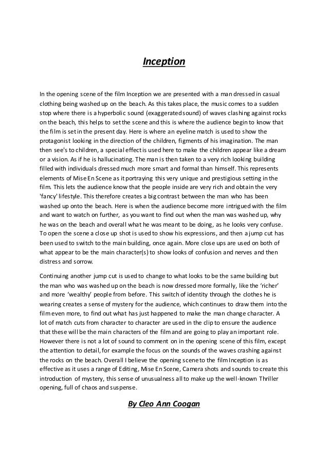 essay on the opening scene in black swan by cleo coogan by cleo ann coogan 2 inception in the opening