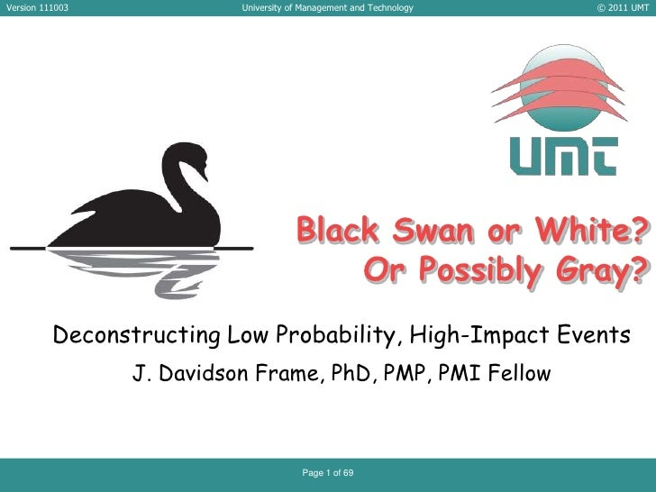 Black Swan or White?  Or Possibly Gray?<br />Deconstructing Low Probability, High-Impact Events<br />J. Davidson Frame, Ph...