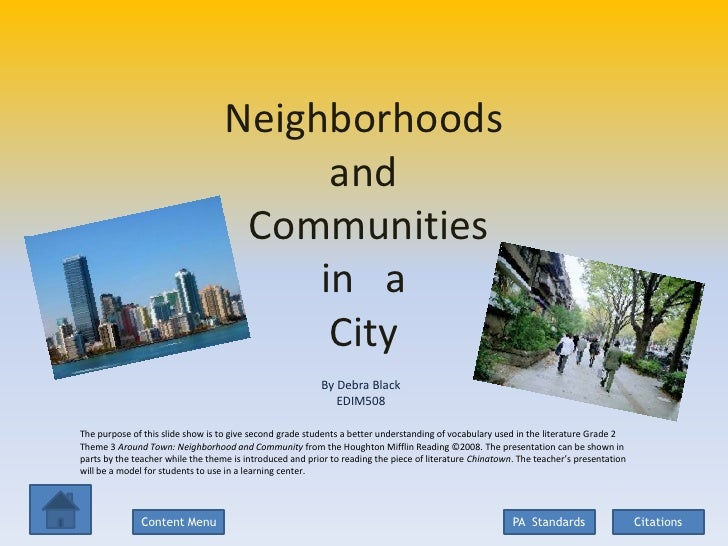 Neighborhoods                                         and                                    Communities                  ...