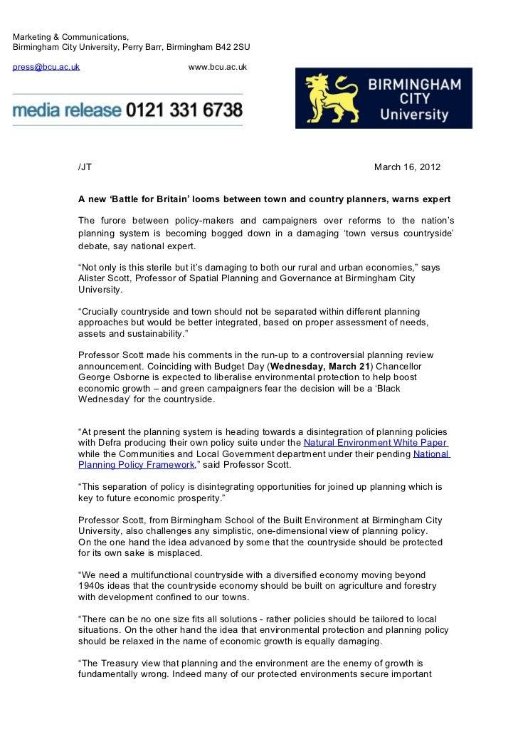 Marketing & Communications,Birmingham City University, Perry Barr, Birmingham B42 2SUpress@bcu.ac.uk                      ...