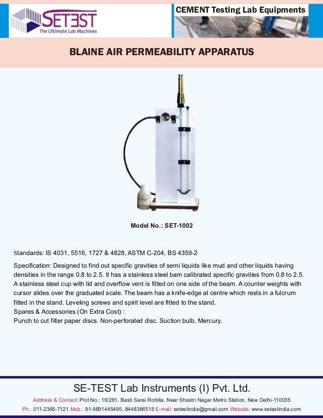 Blaine Air Permeability Apparatus Exporters in India