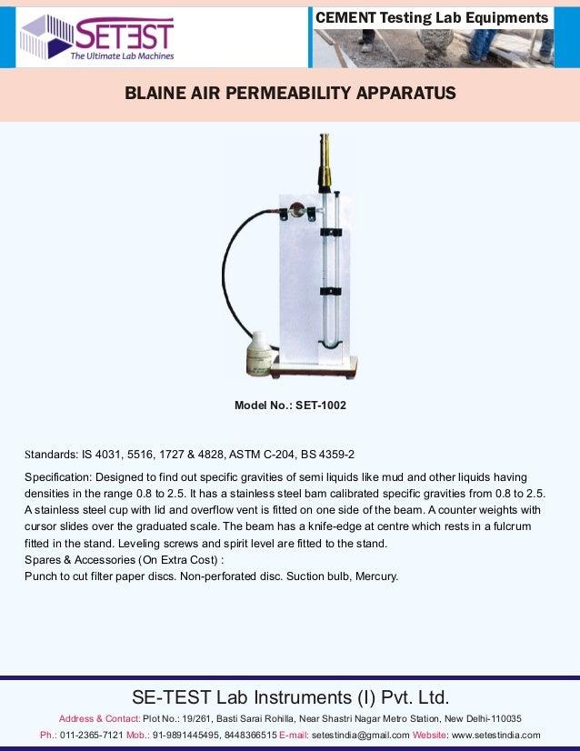 Blaine Air Permeability Apparatus Suppliers in India