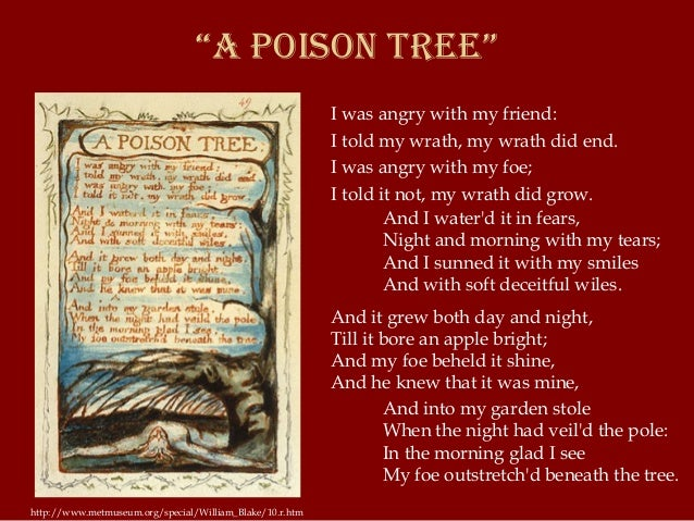 an analysis of a growing anger in a man in william blakes poem a poison tree The visions of william blake  and in the poem london he imagines the city as a dark, unreal realm, illustrated with an old man bent toward a child in a shadowy.