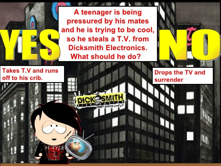 A teenager is being pressured by his mates and he is trying to be cool, so he steals a T.V. from Dicksmith Electronics. Wh...