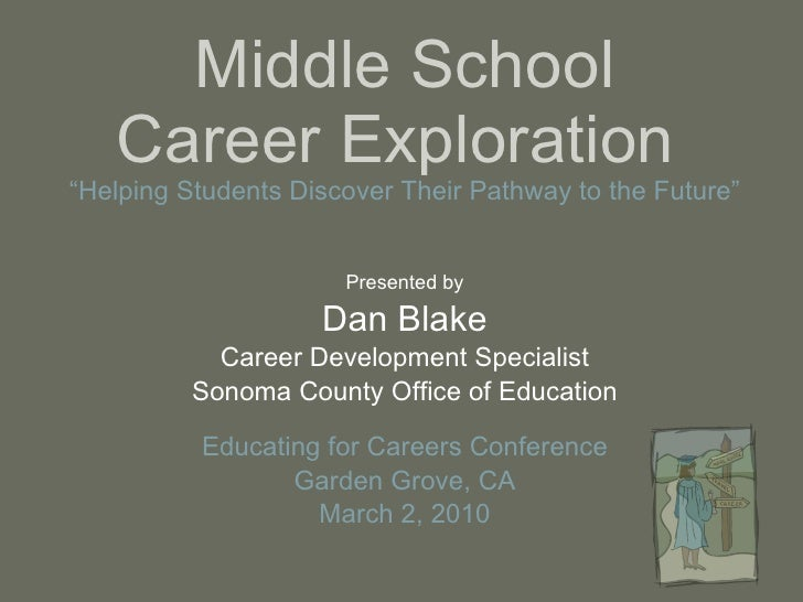 "Middle School Career Exploration  ""Helping Students Discover Their Pathway to the Future""   Presented by Dan Blake Career ..."